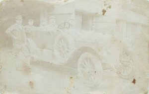 Postcard social history family portraits early tradition soldiers in car