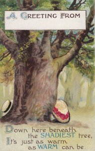 GREETING, 1900-10s; Hat & Bonnet under a tree,