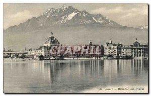 Postcard Old Bahnhof Luzern und Pilatus