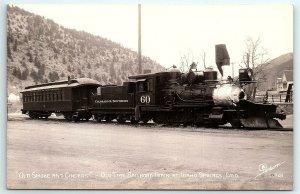 VTG Postcard RPPC Real Photo Idaho Springs CO Sanborn C&S Train Railroad #60 A5