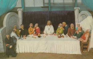 The Last Supper Jesus Bible Weymouth Sand Model Hand Signed 1970s Photo Postcard