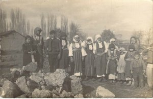 c.'10 RPPC, Real Photo, Eastern European  Families,Ethnic Clothing,Old Post Card