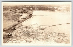 Emmett ID~Birdseye: Logs Ready for Lumber Mill~Payette River~Buildings~1920 RPPC