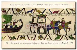 Postcard Old Bayeux Tapestry of Queen Mathilde Harold crosses the sea and ret...