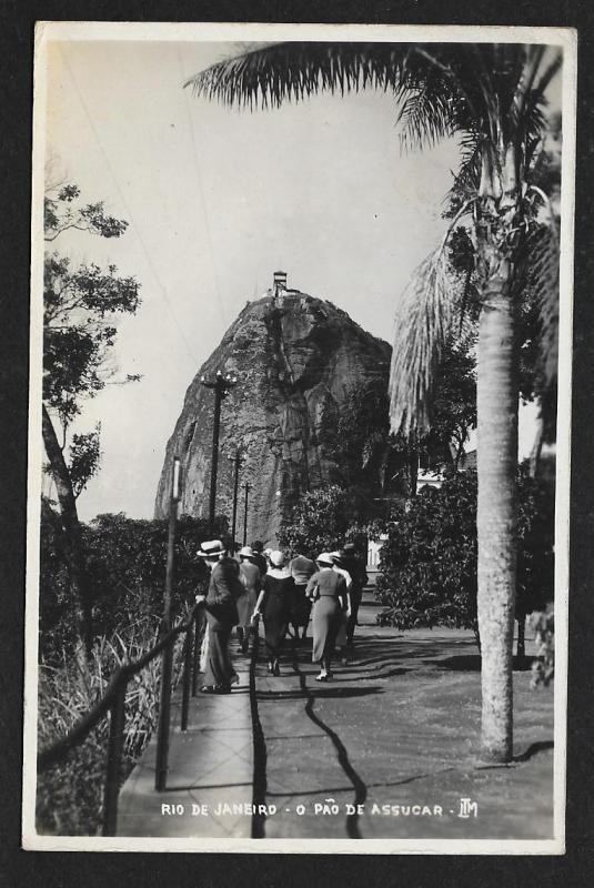 People on Sugar Loaf path Rio De Janeiro Brazil Used c1935