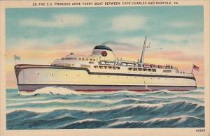 S S Princess Anne Ferry Boat Between Cape Charles and Norfolk Virginia 1941