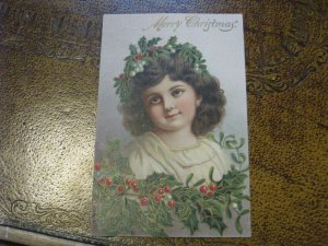 Antique Christmas Postcard Girl Holly Wreath in Hair Unused