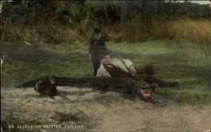 Panama - Alligator Hunting Hunter w/ Son & Gun c1910 Postcard