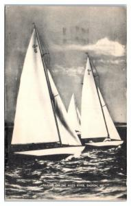 1958 Sailing on the Miles River, Easton, MD Postcard