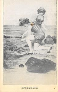 Vintage Bathing Beauties on Ocean Front~Rocks~Catching Suckers~Striped Suits