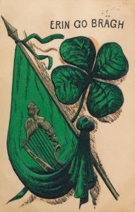 St Patricks Day Greetings - Harp and Shamrock - Erin Go Bragh - pm 1908 - DB