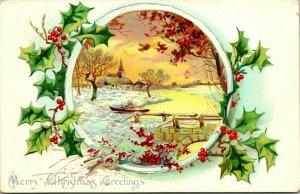 Vtg Carte Postale Raphael Tuck & Sons Houx Séries 100 Noël non Utilisé