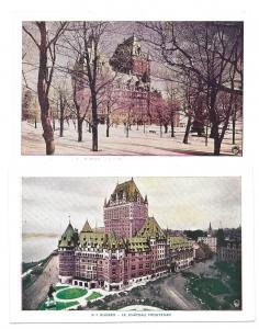 Canada Quebec Chateau Frontenac Birds Eye View and Snow 2 Vintage Postcards