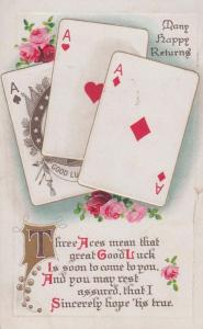 Three Aces Pack Of Cards Poker Good Gamblers Luck Greetings WW1 Antique Postcard