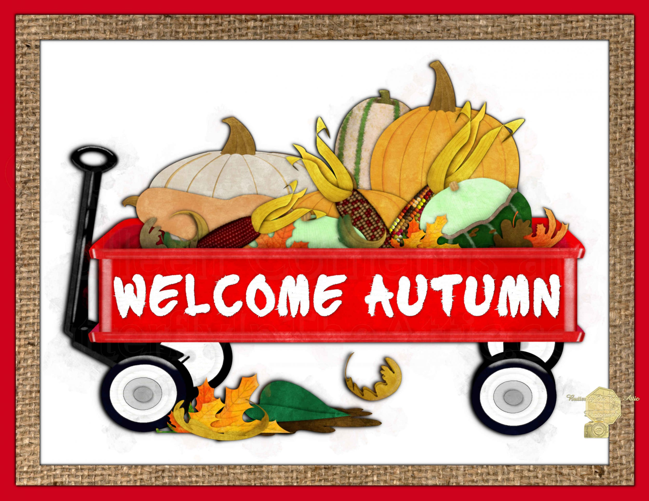 Set of 6 Fine Art Postcard Welcome Autumn Red Wagon Pumpkins Squash Indian Corn