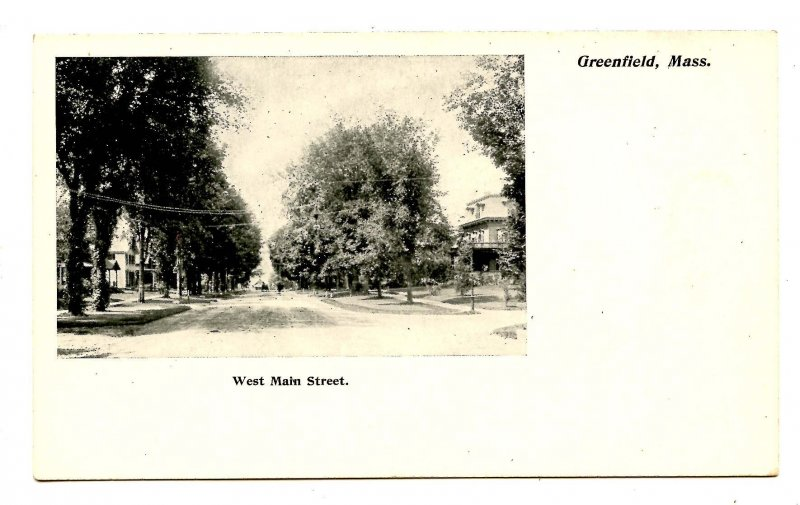 MA - Greenfield. West Main Street   (Private Mailing Card)