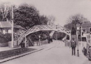 Station Bridge With Railway Guard Andover Hampshire Postcard