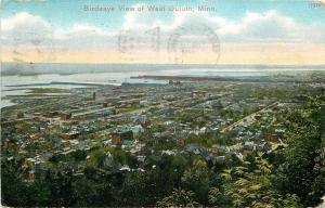West Duluth Minnesota~Birds Eye Panorama~Homes~Schools~Business~1910 Postcard
