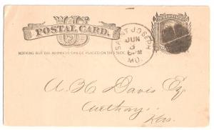 Post Card  Missouri 1882 UX7