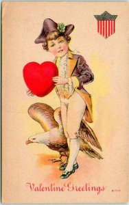 Vintage VALENTINE'S DAY Postcard Boy in Colonial Costume / Bald Eagle Dated 1912