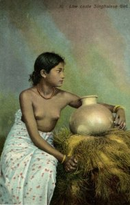 ceylon, Beautiful Nude Singhalese Woman of Low Caste, Pottery (1910s) Postcard