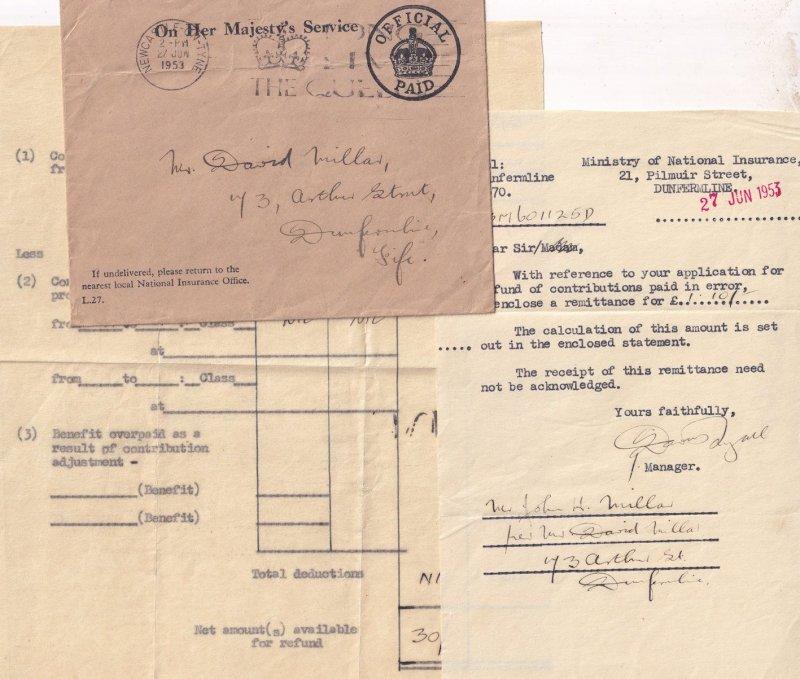 Dunfermline Scottish Ministry Of National Insurance Mistake 1953 Ephemera
