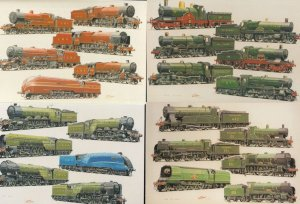 LMS LNER GWR Southern Railways 24 Train Painting 4x Postcard s