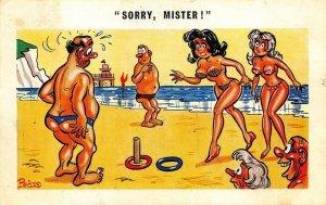 Sorry, Mister! Beach Artist Pedro Risque Postcard