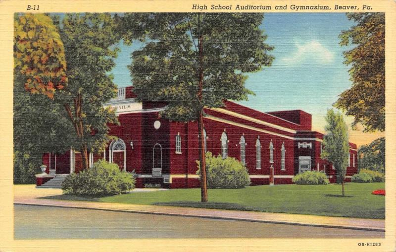 Beaver Pa Pennsylvania High School Auditorium Gymnasium C1940s