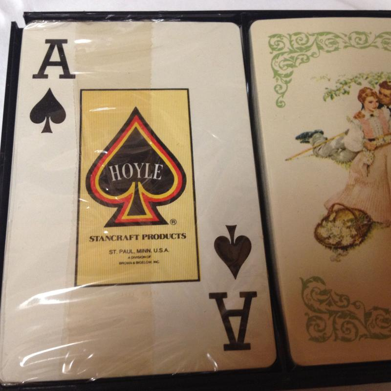2 Decks Hoyle Playing Cards New,Sealed with Case Norman Rockwell