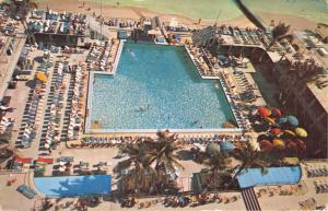 MIAMI BEACH FL SHERRY FRONTENAC HOTEL~VIEW POOL & CABANA COLONY POSTCARD 1956