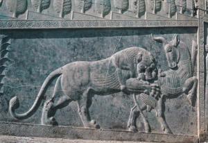 Lion Attacks Antelope Carving, Shiraz, Perspolis, Iran, 1960-70s PU