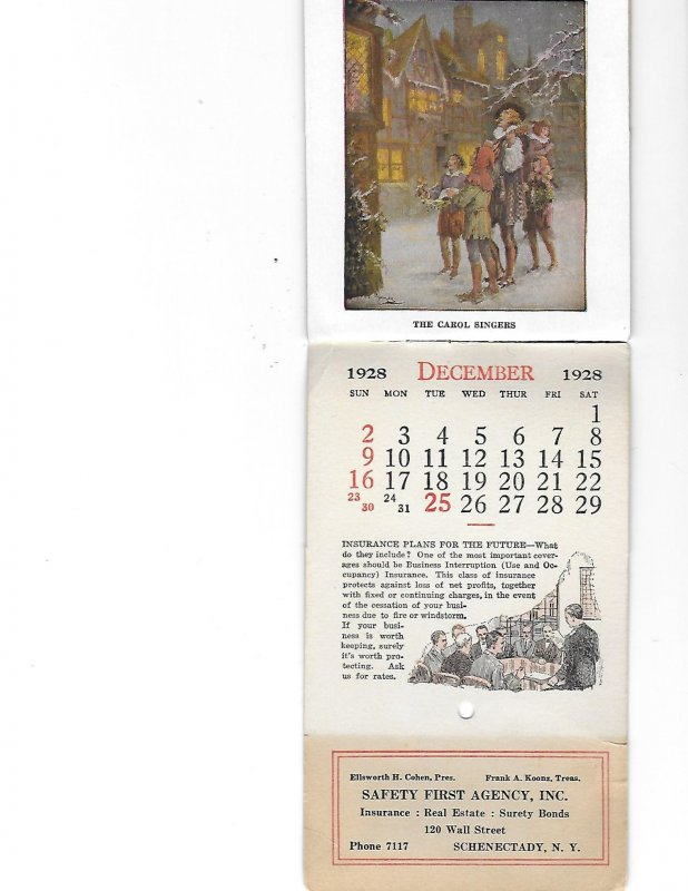6 by 3.5 inch Season's Greetings Best Wishes New Year Calendar 1928