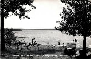 Grayling Michigan~Camp Margrethe~Beach Swingset~Boats~1950s Real Photo~RPPC