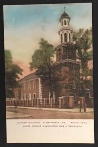 Christ Church Alexandria VA The Albertype Co Hand Colored Post Card
