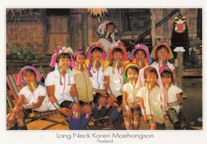 Long Neck Children Human Freak Thailand Postcard
