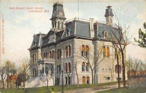 LP68 Janesville  Wisconsin  Postcard  Court House