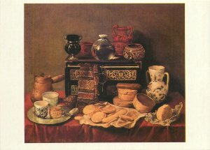 Russia Painting art Drawing Postcard Antonio Pereda Still life