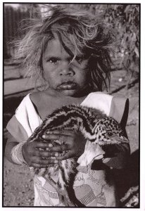 Aborigine Child & Baby Emu Bird Real Photo Australian Postcard