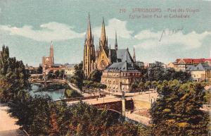 France Strasbourg Pont des Vosges Eglise Saint Paul et Cathedrale Church