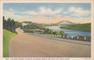 Massachusetts Cape Cod New Highway Showing Sagamore Bridge and Cape Cod Canal...