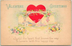 1910s VALENTINE'S DAY Postcard Joyful the Heart That Knows the Way STECHER 1503A