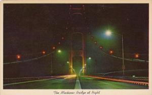 The Mackinac Bridge At Night Upper and Lower Michigan 1964