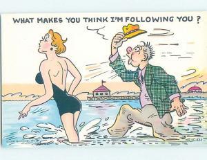 Pre-1980 risque MAN IN CLOTHES FOLLOWS SEXY BEACH GIRL INTO THE WATER HL4148-17