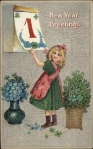 New Year - Little Girl Turning Calendar Page c1910 Postcard