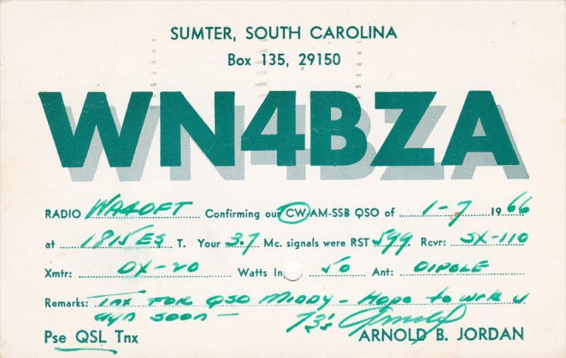 WN4BZA Radio, Sumter, South Carolina, United States, PU-1966