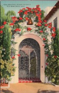 Spanish Entrance Miami Beach FL Florida Fla. Unused Vintage Linen Postcard D60