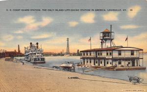 Louisville Kentucky~US Coast Guard Life Saving Station~Steamer~1940s Linen PC