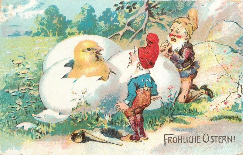 Happy Easter dwarfs gnomes nains caricatures chicken egg Germany chromo postcard