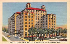 The Albert Pike Hotel, Little Rock, Arkansas, Early Linen Postcard, unused
